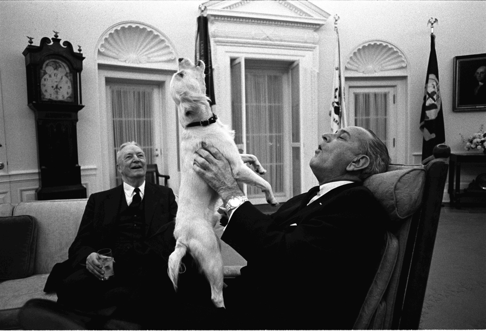 oval office history. LBJ Sings With His Dog Yuki In The Oval Office. February 1968.] Office History