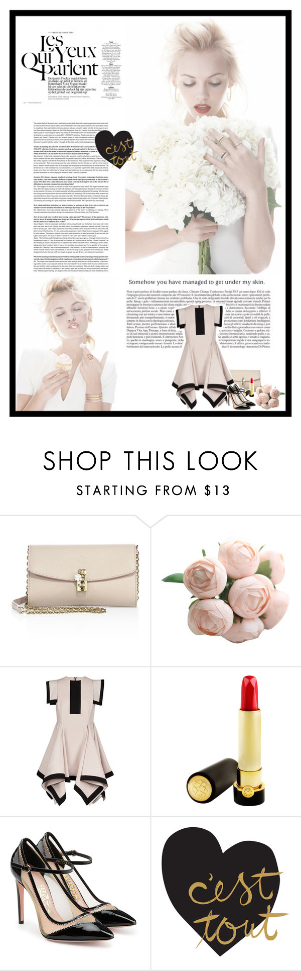 """""""les yeux qui parlent"""" by slowlycommittingsin ❤ liked on Polyvore featuring GINTA, Dolce&Gabbana, Tatcha and Salvatore Ferragamo"""