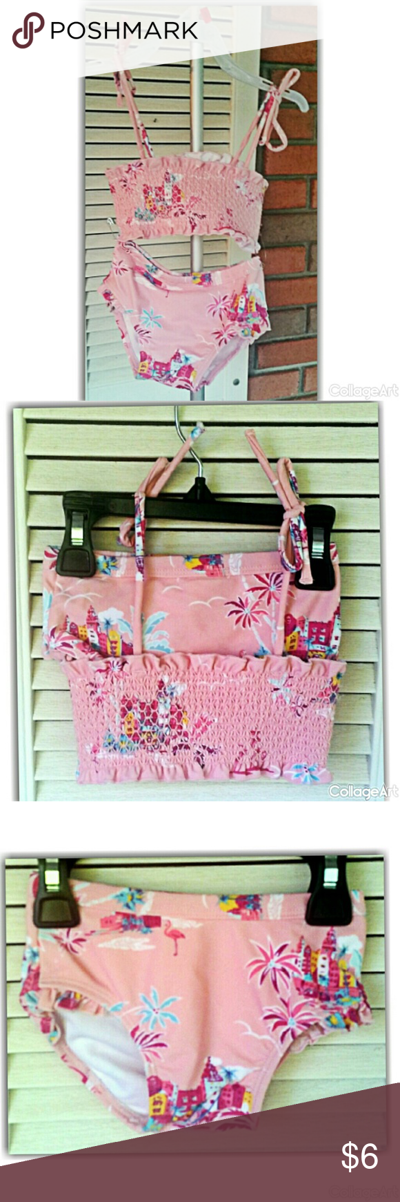 Pink floral two piece bathing suit Nylon, spandex, polyester. Great condition.#bathingsuit#size12to18months Swim Bikinis