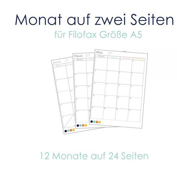 monat auf zwei seiten kalendereinlagen f r 2017 f r din a5 und din a4 planer filofax planer. Black Bedroom Furniture Sets. Home Design Ideas