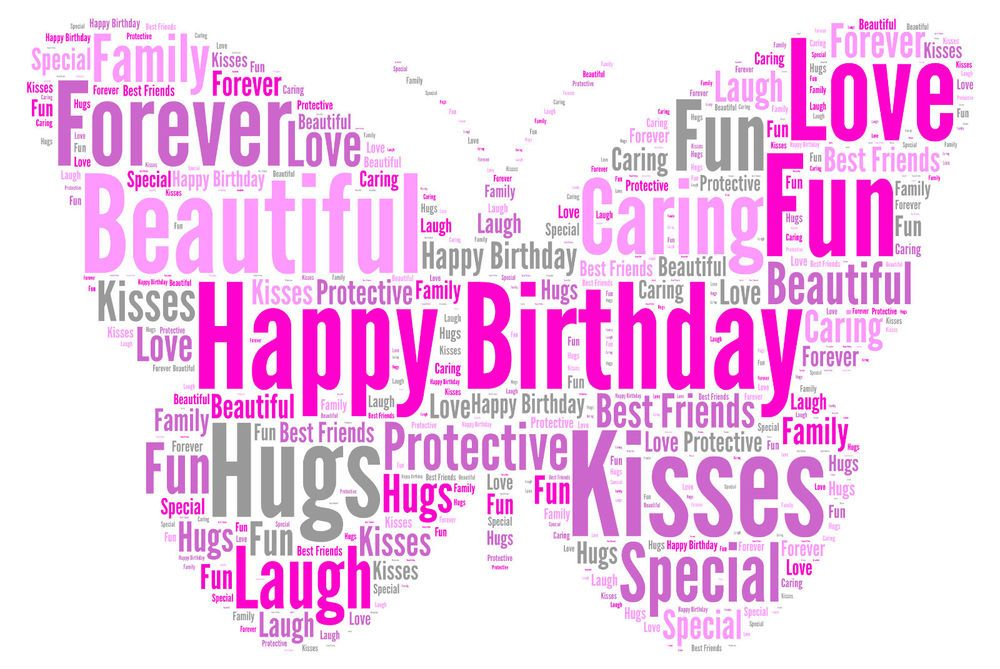 Personalised Word Art butterfly print A4 birthday teacher