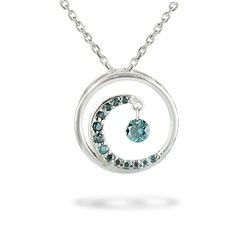 White Gold Wave Pendant With Blue Diamond Pave Chain Included New From Na Hoku Collections Fine Silver Jewelry Wave Jewelry Jewelry