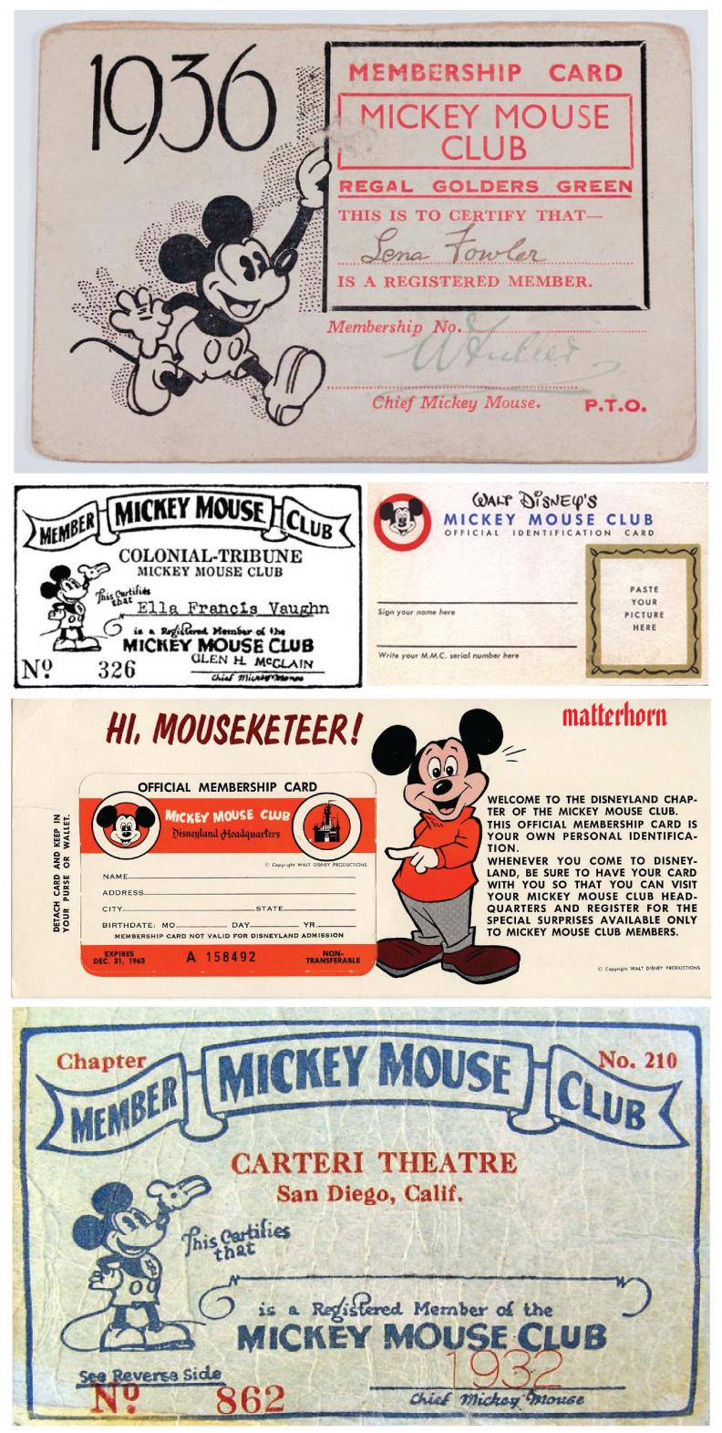 Mickey Mouse Club Member Cards  Membership Card