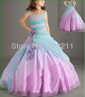 2014 Newest Purple Organza Beading Spaghetti Straps Bridal Flower Girl Dress