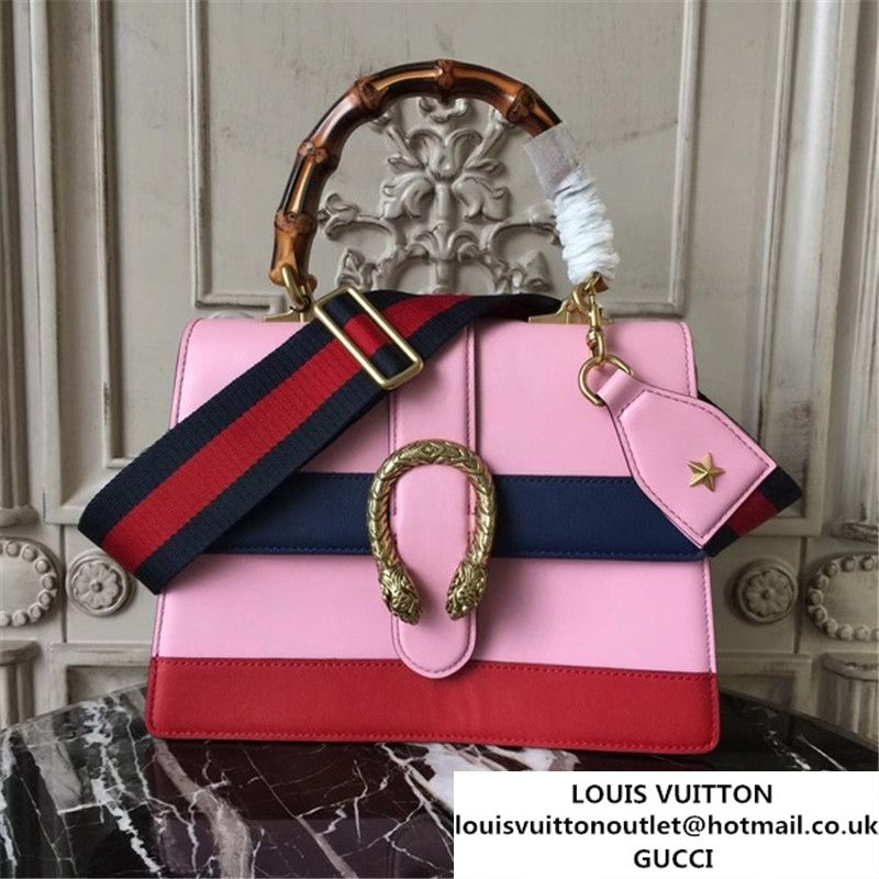 bc1b248ec48f75 Gucci Dionysus Leather Bamboo Large Top Handle 27cm Bag Fall Winter 2017  Collection Pink Navy Blue Hibiscus Red