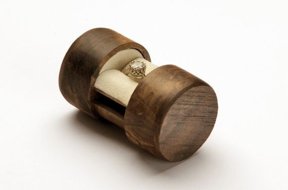 Sliding Wooden Proposal Ring Box Hidden Magnet Lock Small Stylish