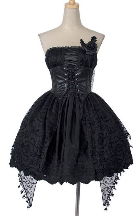 Punk Rave Q-163 Dress romantic jacquard black rose | CLOTHING \ Dresses | Restyle.pl