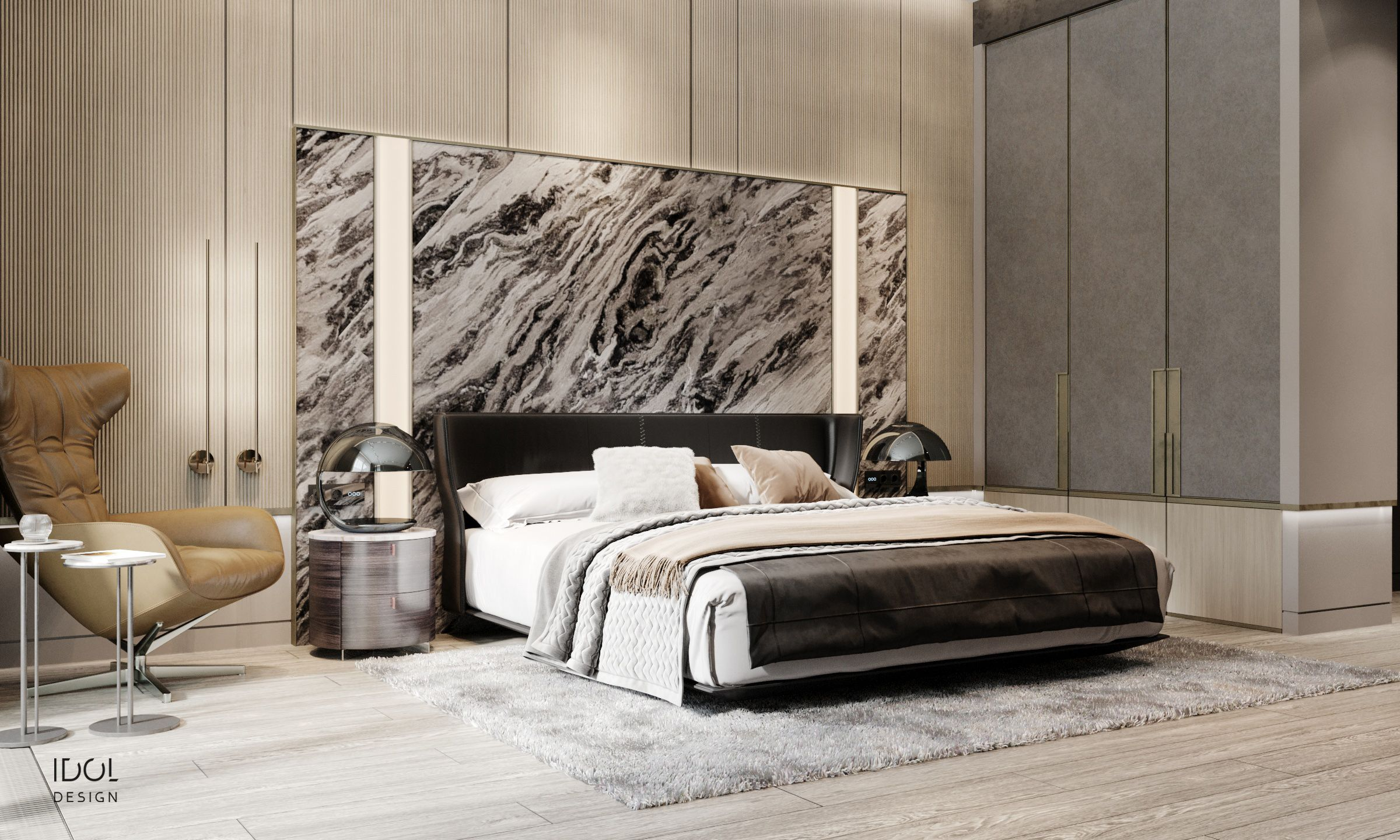 Luxury Modern Bedroom With Marble Headboard And Lights
