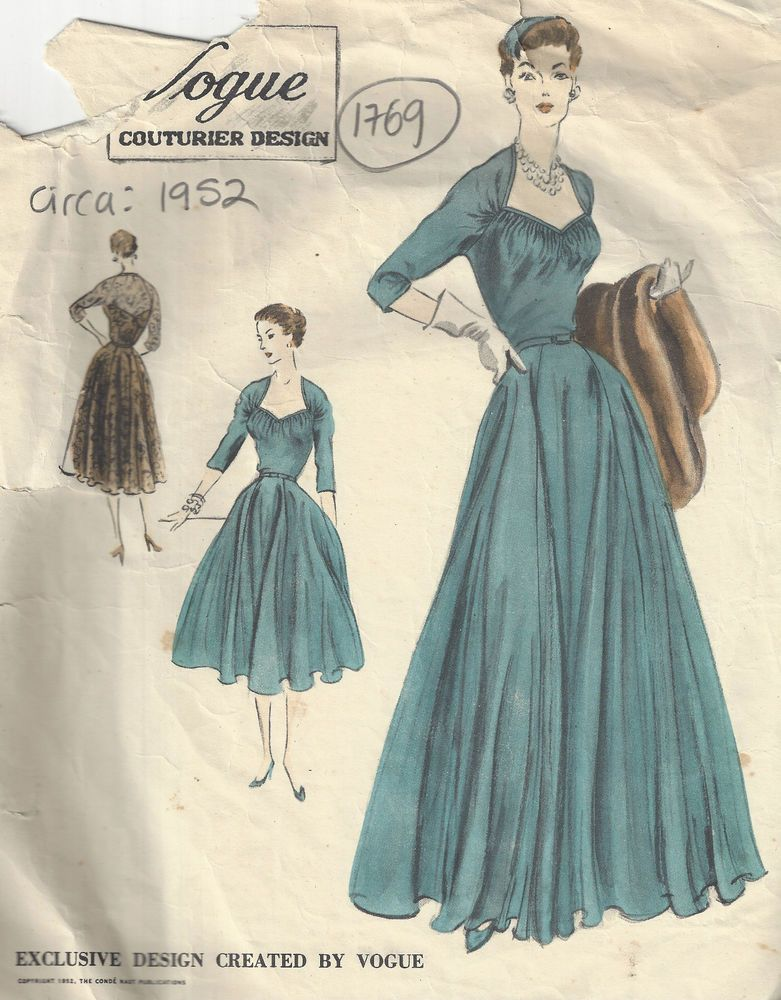 1952 Vintage VOGUE Sewing Pattern B34 ONE-PIECE DRESS & SLIP (1769 ...