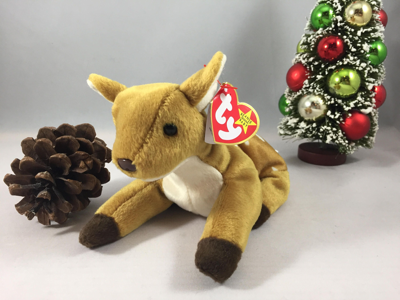 3b6fad45672 Whisper the Deer Plush TY Beanie Baby Retired Vintage Stuffed Animal ...