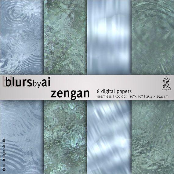 zengan - digital paper pack: 8 water textures. Printable digital papers.
