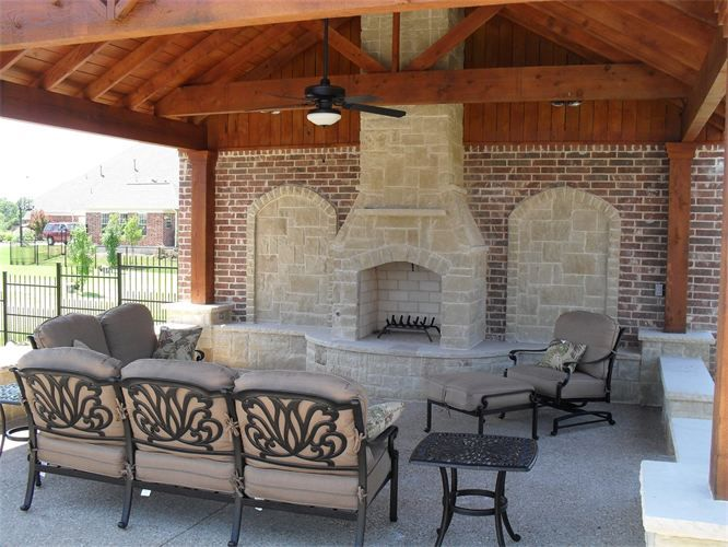 Outdoor Fireplace Austin Stone With Brick Wall Outdoor