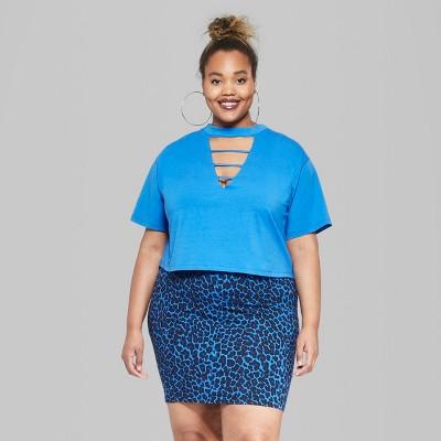57b160419e2 Women s Plus Size Short Sleeve Lattice Collar Cropped T-Shirt - Wild Fable  Blue 1X