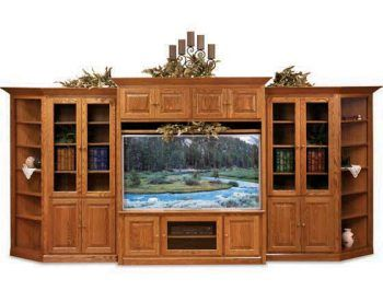Amish Shaker Widescreen Entertainment Center Family Room And Theater Furniture Sugar Plum Oak In Norfolk Nebraska