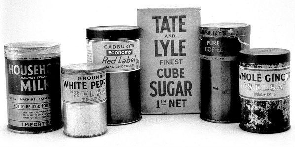 Wartime groceries with reduced size paper labels | WW2 | Pinterest