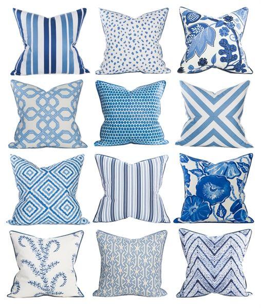 Coastal Home Pillows Blue Decor Blueandwhite With Images
