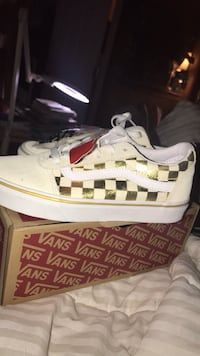 Used Brand New in box size 6.5 Off white and Gold checkerboard Vans lace  ups for sale in Amarillo - letgo | Silver standing lamp, Vans, Sapphire  pendant