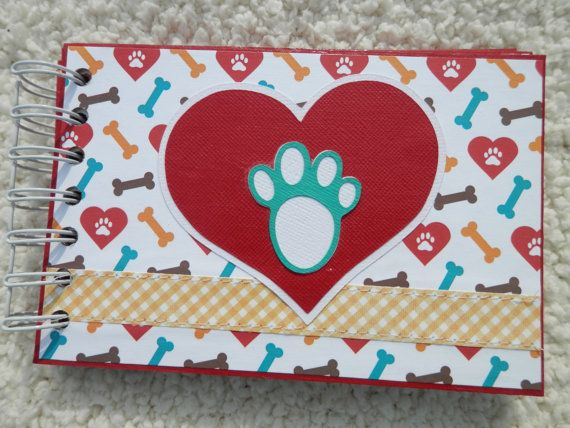 This mini scrapbook is perfect for any dog lover. This chipboard album is 4x6 inches and is made of 6 bound pieces of chipboard. Album is bound