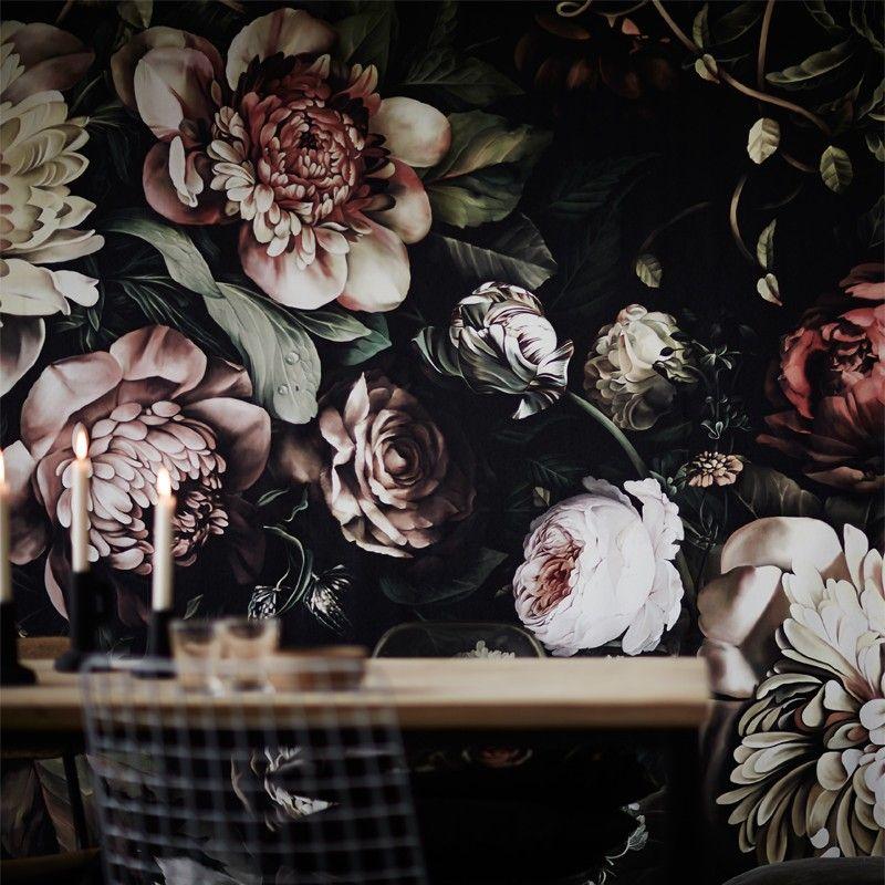 Dark Floral II Black Saturated XL (200) Wallpaper