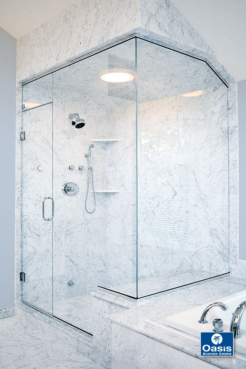 Custom Frameless Steam Enclosure Features Operable Transom Above The Door A Notched Panel And Retu Frameless Shower Enclosures Glass Shower Glass Shower Doors