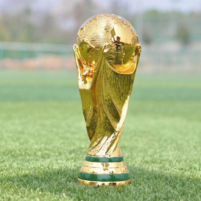 Fifa world cup 2018 trophy replica golden football fan
