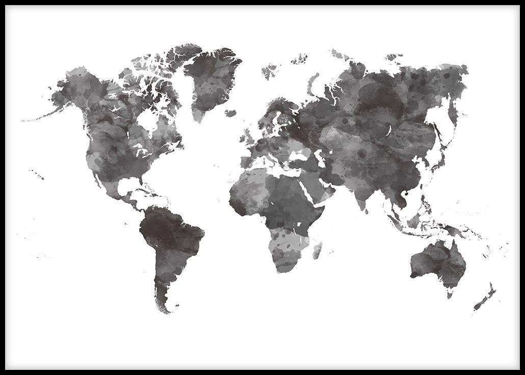 carte du monde noir Carte du monde aquarelle noir et blanc, Affiche de décoration pour