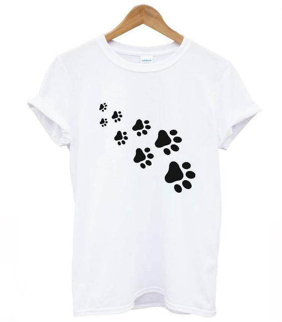 Paw prints Black Cat Kitty Love Cats Funny T-shirt 100/% Cotton unisex women
