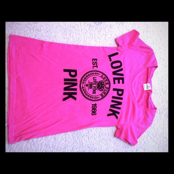 Pink tee shirt. Great condition Love pink. Pink tee shirt . No flaws size medium. PINK Victoria's Secret Tops Tees - Short Sleeve