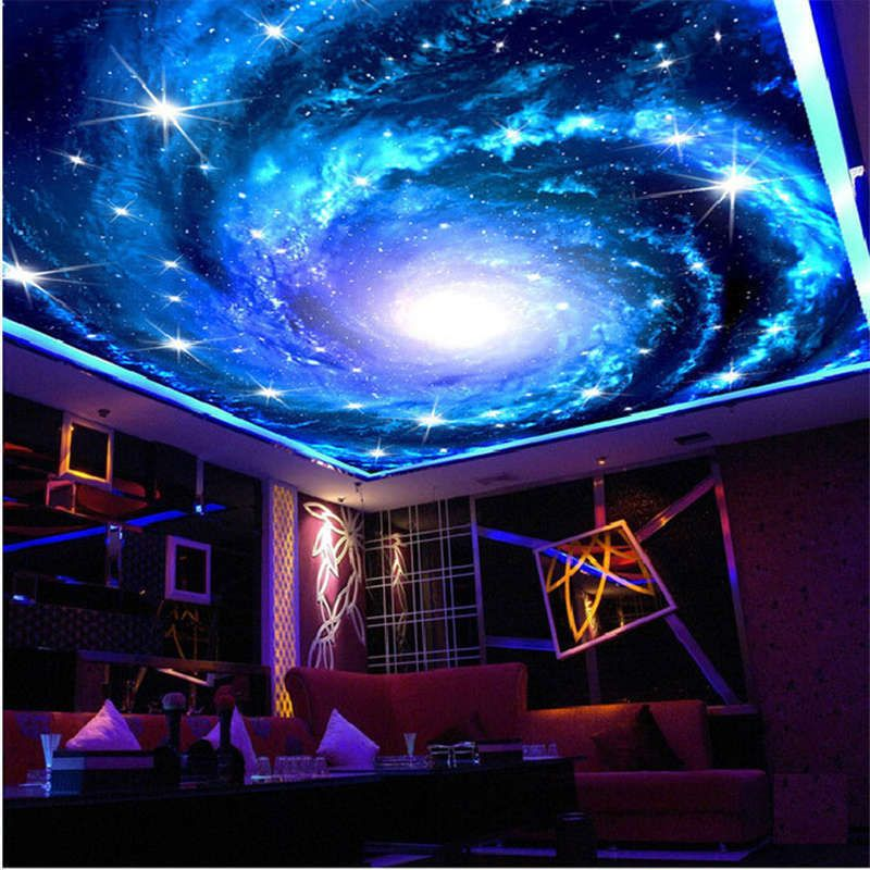 Starry Sky Galaxy Full Wall Ceiling Mural Photo Wallpaper ...