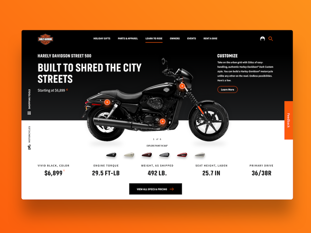 Product Page UI Concept is part of Web design inspiration, Design, Web design, Business advertising design, Development, Concept design - Greetings everyone  Sharing a personal project for a UI concept for one of my favorite motorcycle brands, Harley Davidson  Please do let me know your thoughts