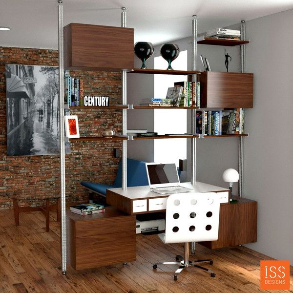 Wide Room Divider with Floating Desk apartment deco ideas