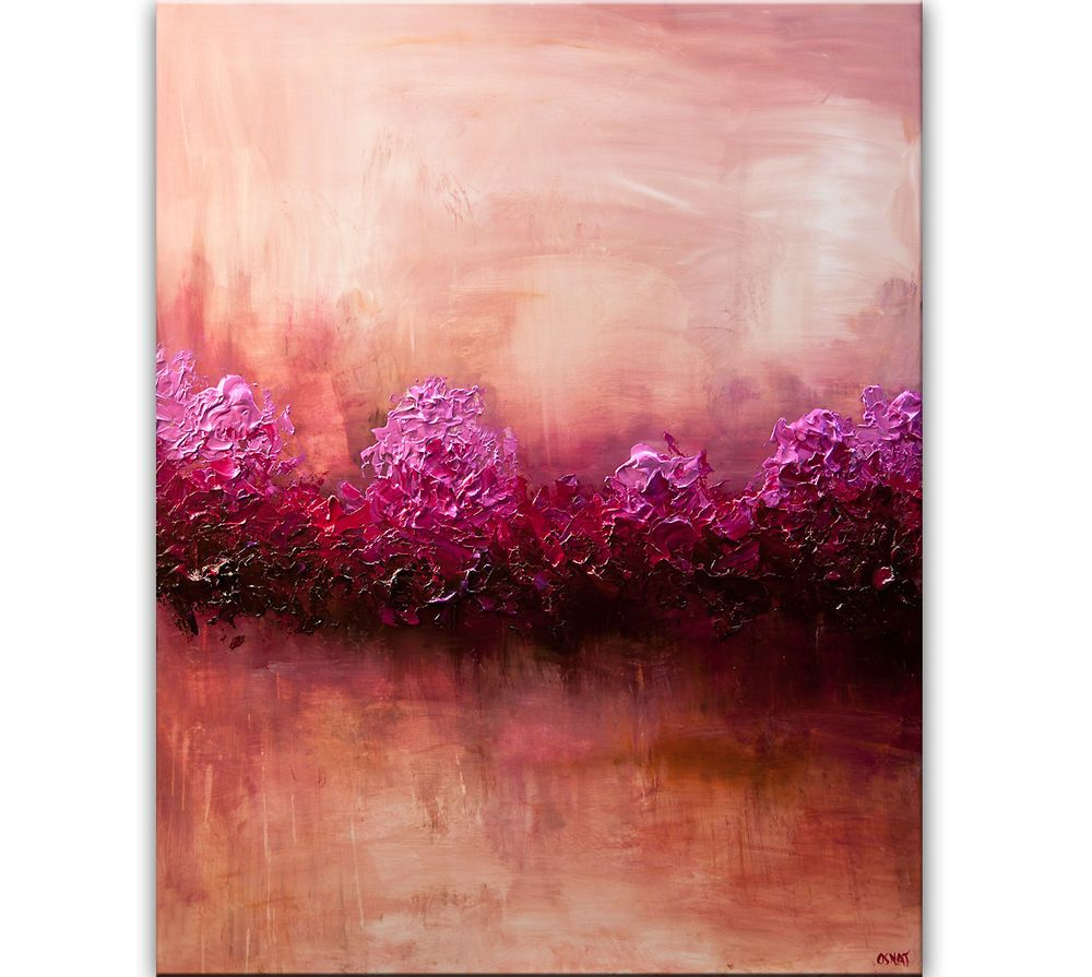 original pink landscape painting heavy textured abstract art 20x20 ...