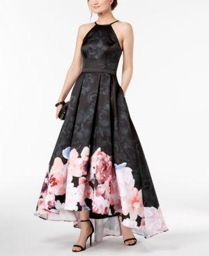 0dc2264b648 Xscape Floral-Print High-Low Gown - Black 6