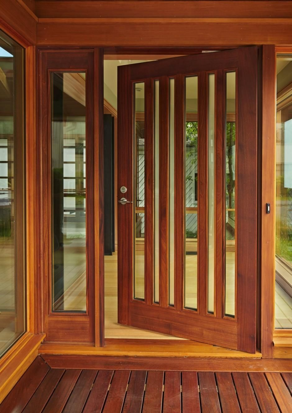Extra Large Wooden Door With Window Paneling