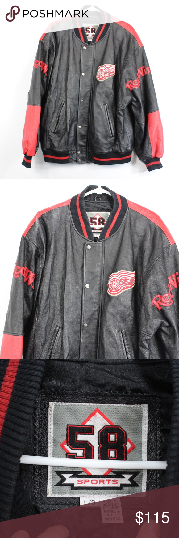 90s Mens Large Detroit Red Wings Leather Jacket Vintage 90s 58 Sports Detroit Red Wings Leather Bom Vintage Leather Jacket Leather Jacket Leather Bomber Jacket [ 1740 x 580 Pixel ]
