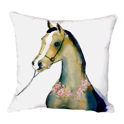 Betsy Drake Interiors Horse And Garland Indoor/Outdoor Throw Pillow |  Outdoor Throw Pillows, Indoor Outdoor And Throw Pillows
