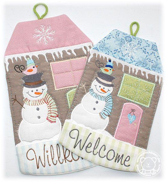Der Stickbär Winter Welcome House ITH