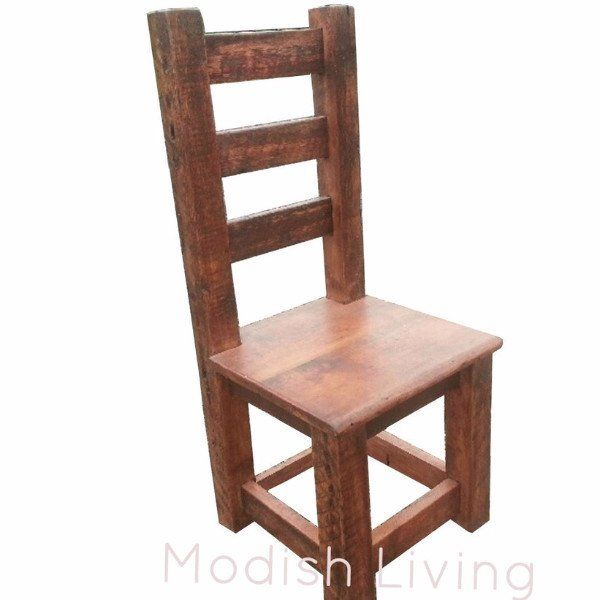 oak dining chairs with leather seats moss high back reclaimed wood chair metal upholstered used set of 4