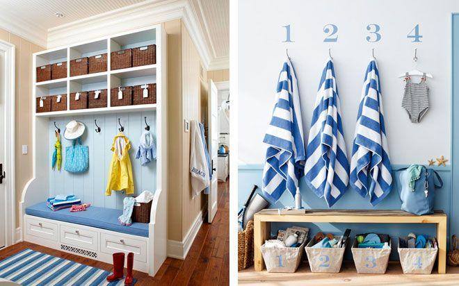 Entrée rayures bleu et blanc rangement Pinterest Deco, X