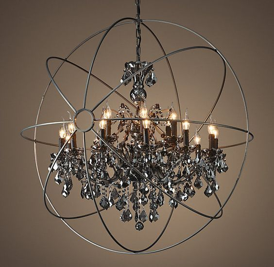 Restoration hardware foucaults orb smoke crystal chandelier 44 restoration hardware foucaults orb smoke crystal chandelier 44 aloadofball Image collections