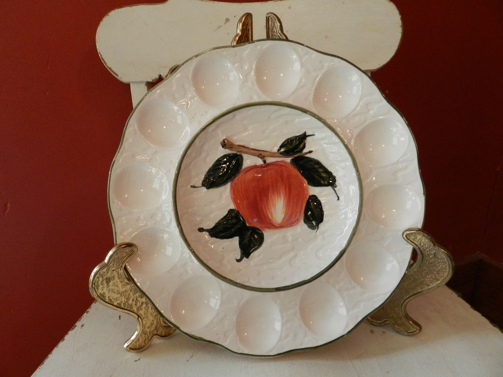 """Egg Plate with Apple Design  10 1/2"""""""