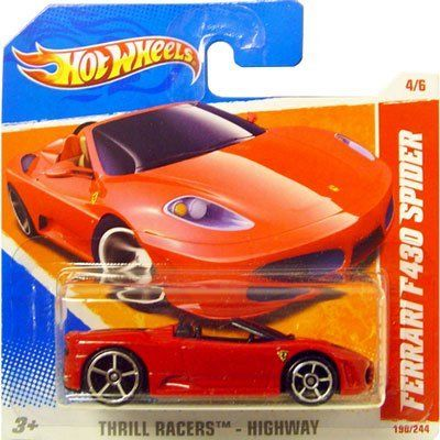 2011 Hot Wheels Red FERRARI F430 SPIDER #190/244, Thrill Racers Highway #4/6 (Short Card) by Mattel. $6.99. for ages 3+. Ferrari F430 Spider, #190 of 244. 1/64 scale die cast. international short card version. 2011 Hot Wheels Thrill Racers: Highway series, #4 of 6. This Ferrari F430 Spider convertible is a red color with black interior and the Ferrari logo on the hood and sides.