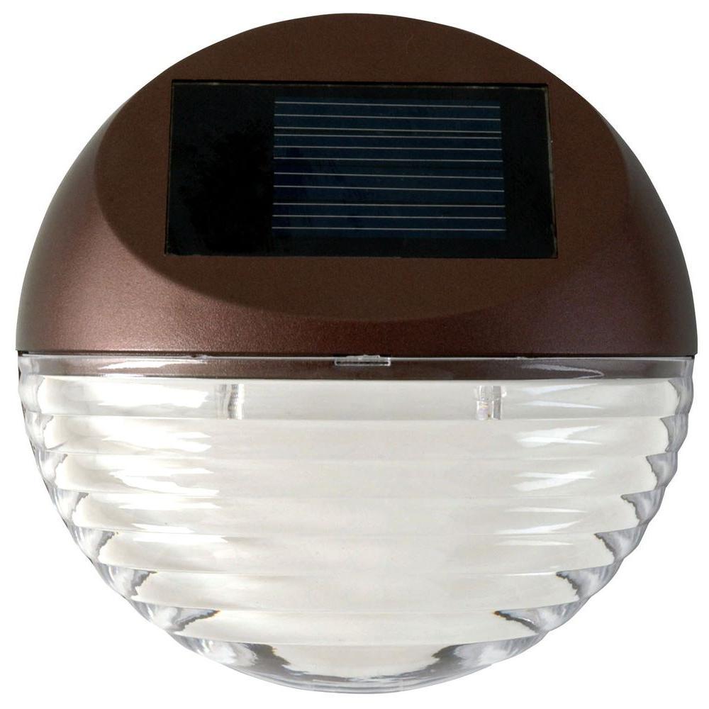 Moonrays Solar Bronze Integrated Led Round Mini Deck Light 95027 The Home Depot Solar Deck Lights Led Deck Lighting Outdoor Deck Lighting