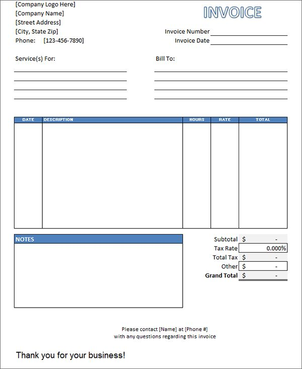 Labor Invoice Template Invoice Pinterest Labour Template And - Microsoft excel invoice template free download for service business