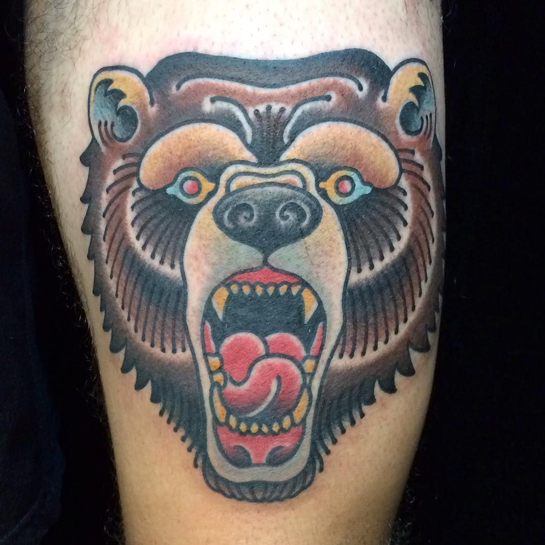 Traditional Black Bear Tattoo