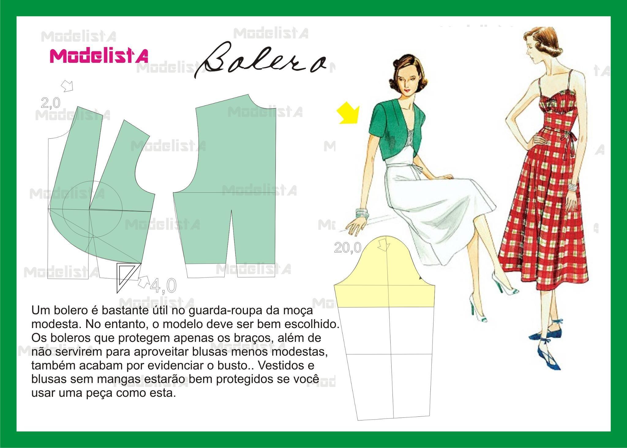 molde bolero #costura | A mano: ropa | Pinterest | Costura, Ropa y ...