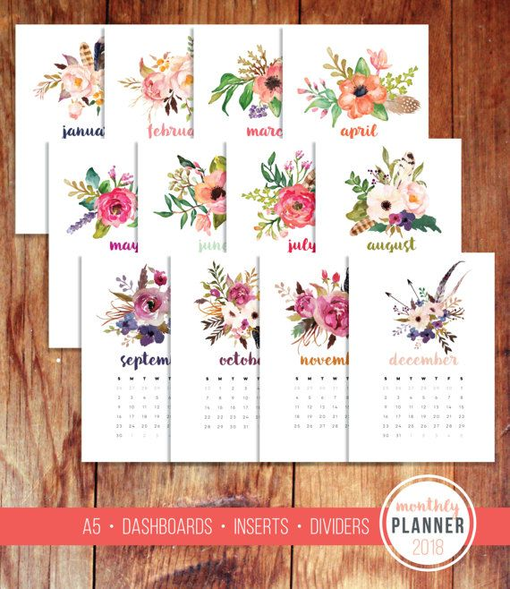 A5 2018 Monthly Planner Calendar Dashboard Divider Agenda Inserts