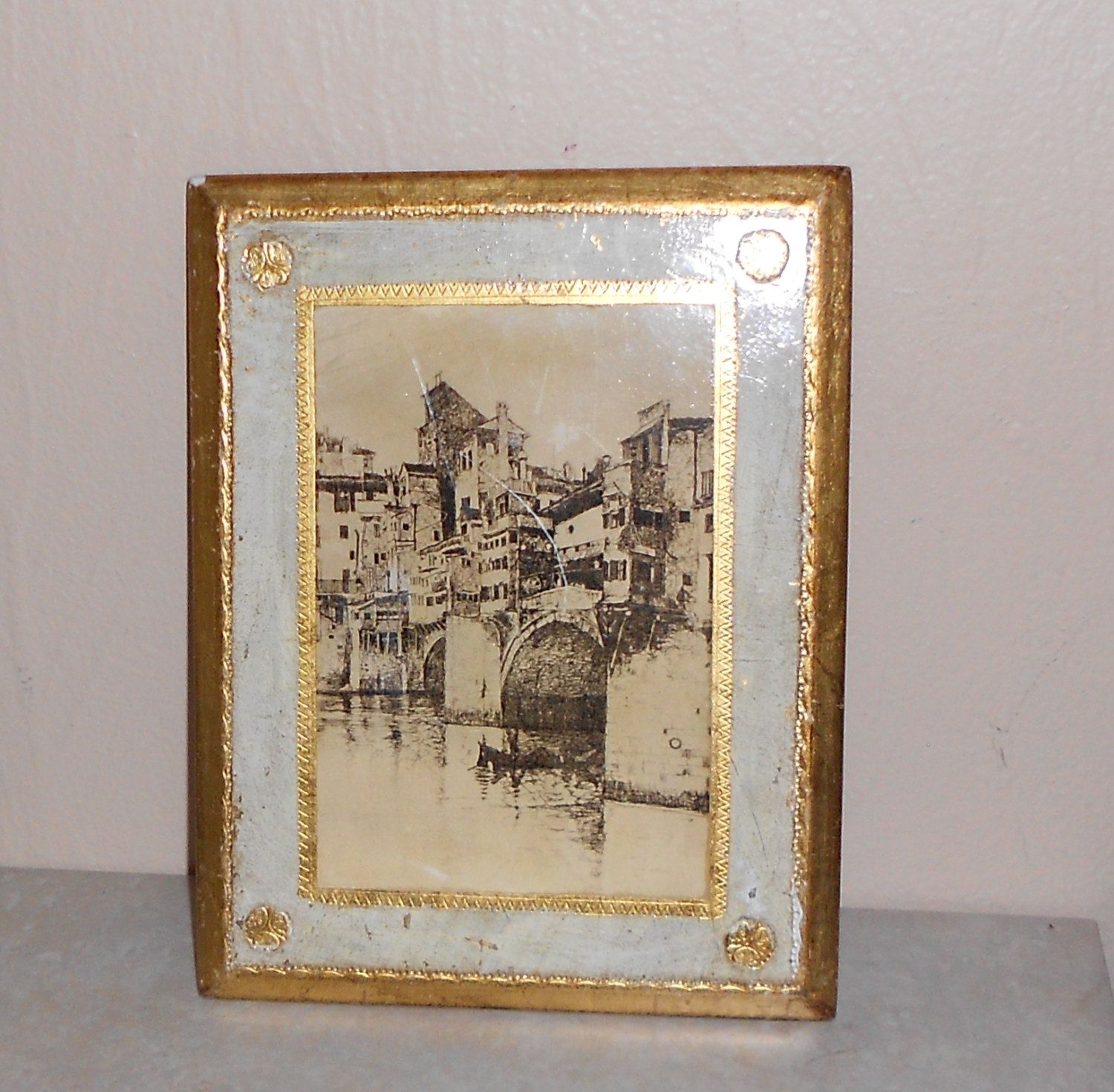 Gold Framed Florentine Art Wall Hanging ~ Made In Italy