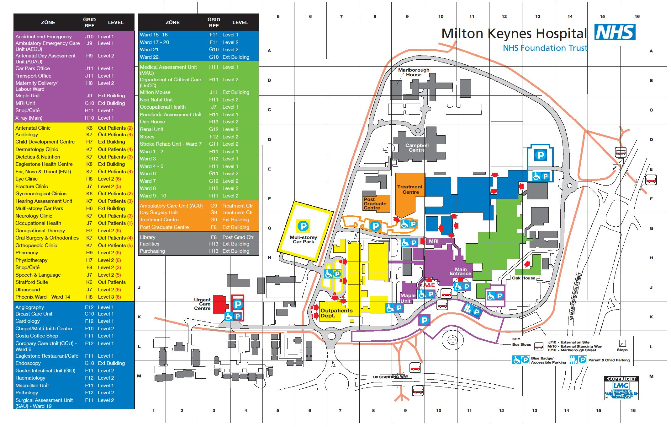 A map of Milton Keynes Hospital, who we have a clinical partnership with