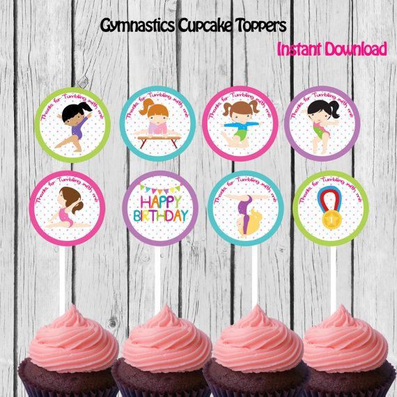 Gymnastic Cupcake Toppers Stickers Party Printable Favors DIY Instant Download